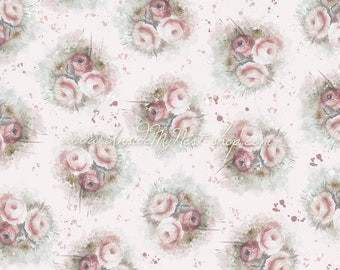 Dusty Rose Blush Pink Vintage Shabby Cottage Chic Floral Background Digital Art Watercolour (Large - A2 - 23.40x16.50 - 300dpi)