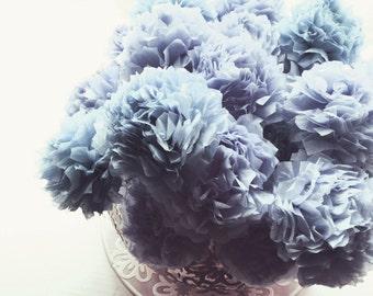 Dusky Dusty Antique Blue Tissue Paper Pom Pom Flower Wooden Sticks Vintage Baby Boy Shower Table Decorations Centrepiece Flowers (Set of 12)