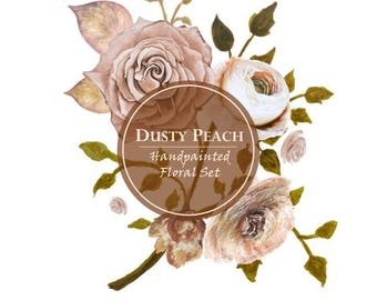 DIGITAL Dusty Peach Blush Watercolour Floral Flower Clipart 300dpi PNG Handpainted Graphics Vintage DIY Invitation Roses Flowers