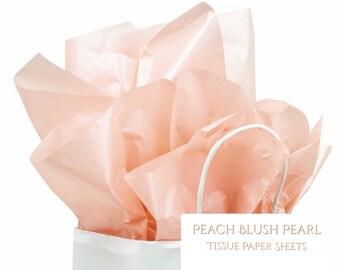 Peach blush pearl tissue paper sheets