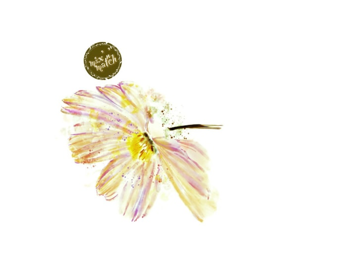 DIGITAL Peach Pink Yellow Watercolour Flowers Clipart Floral Clip Art Downloadable Printable PNG 300dpi DIY Craft Art Baby Girl Wedding