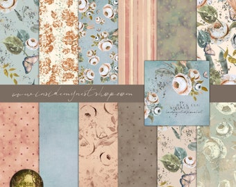 Duck Egg & Peach Vintage Shabby Cottage Chic Floral Paper Pack Double-Sided Scrapbook Card-Making Craft 21x21cm 8x8in 13 Designs 25 Sheets