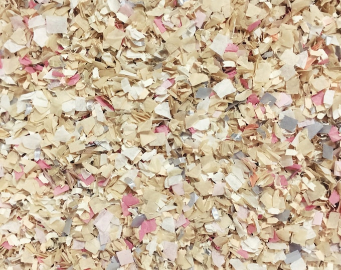 Blush Dusty Pink Ivory Silver Confetti Biodegradable Wedding Bridal Shower Decorations Decor Tissue Paper InsideMyNest (25 Guests)