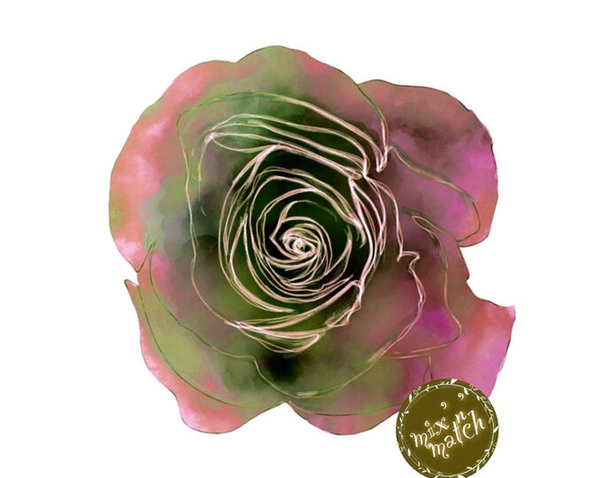 Coral Pink Green Watercolour Rose Flower Clipart Floral Multicoloured Two-Toned Downloadable Printable Digital PNG 300dpi InsideMyNest