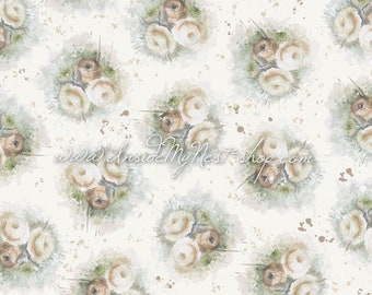 Cream Ivory Vintage Shabby Cottage Chic Floral Background Digital Art Watercolour (Large - A2 - 23.40x16.50 - 300dpi)
