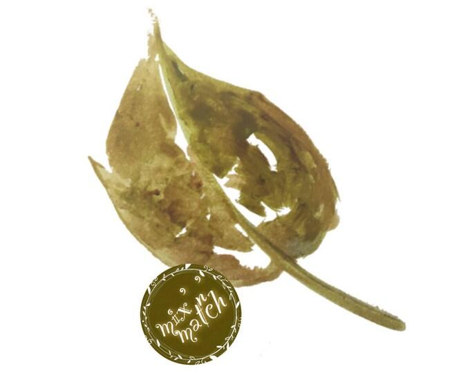 DIGITAL Olive Green Watercolour Leaf Clipart Logo Instant Download PNG 300dpi Transparent Background