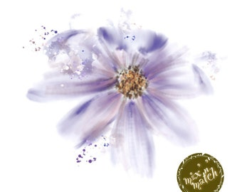 DIGITAL Watercolour Flowers Clipart Floral Clip Art Purple White Downloadable Printable PNG 300dpi DIY Craft Art