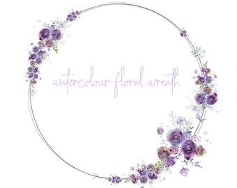 DIGITAL Purple & Rust Flower Bloom Watercolour Floral Rose Wreath Frame Border Clip Art DIY Card Invitation Scrapbook Logo Design