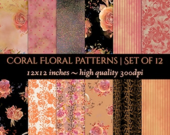 DIGITAL Backgrounds Scrapbook Paper Watercolour Floral Coral Peach Orange Black Amber Printable