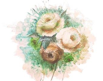 DIGITAL Vintage Peach Terracotta Rose Bloom Splatter Watercolour Floral Flower Clipart 300dpi PNG 8x8 Handpainted InsideMyNest
