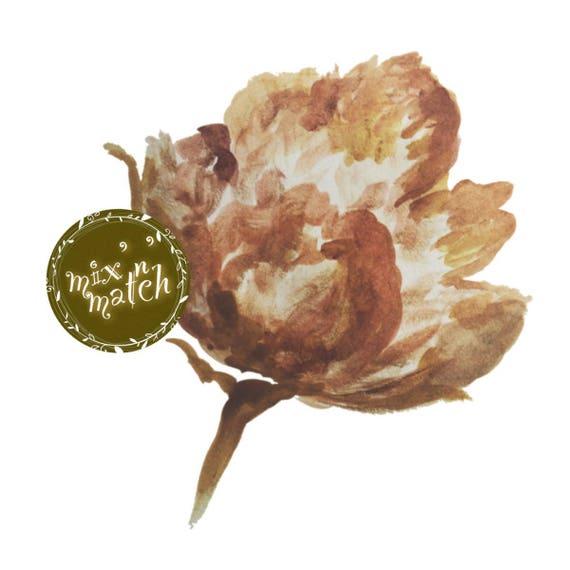 DIGITAL Dusty Peach Terracotta Brown Watercolour Flower Clipart Digital Instant Download PNG 300dpi Transparent Background
