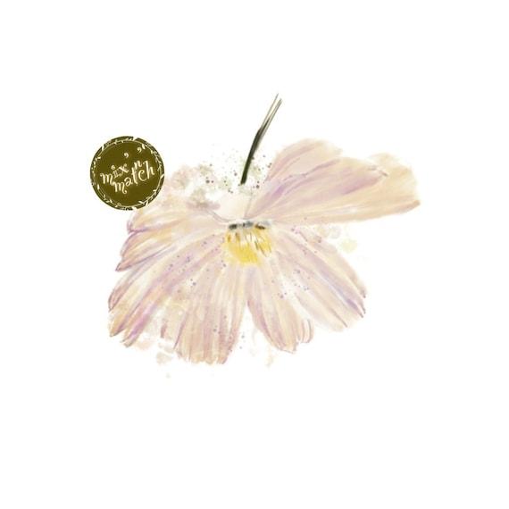 Watercolour Flowers Clipart Floral Clip Art Blush Cream Downloadable Printable Digital PNG 300dpi DIY Craft Art