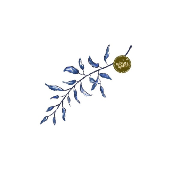 DIGITAL Blue Watercolour Leaf Clipart Instant Download Logo PNG 300dpi DIY Craft Scrapbooking Invitation Card Making