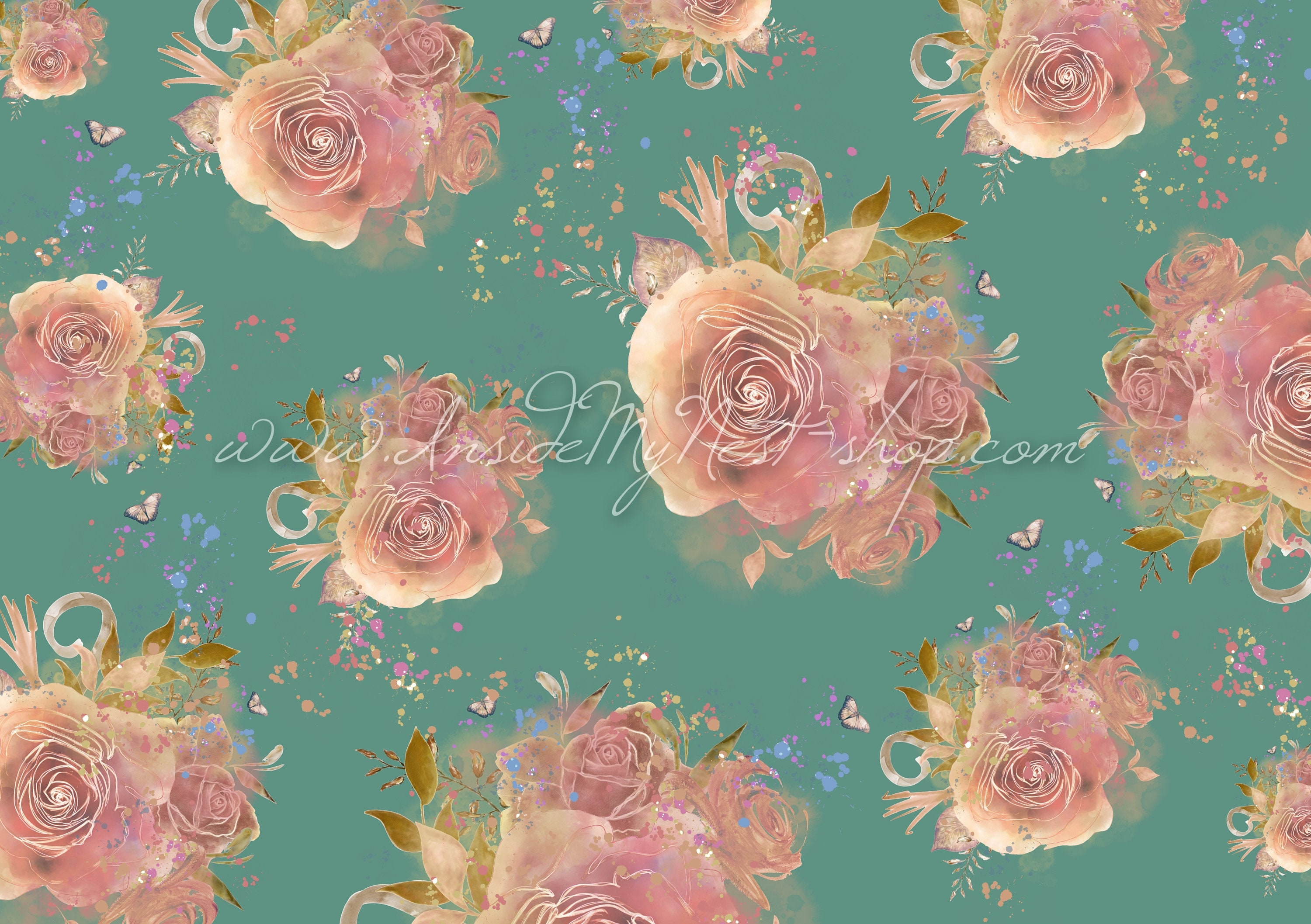 DIGITAL Blush Teal Vintage Shabby Cottage Chic Floral Rose