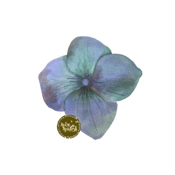 DIGITAL Teal Blue Green Watercolour Hydrangea Flower Petal Clipart Floral Multicoloured Downloadable Printable PNG 300dpi Scrapbooking