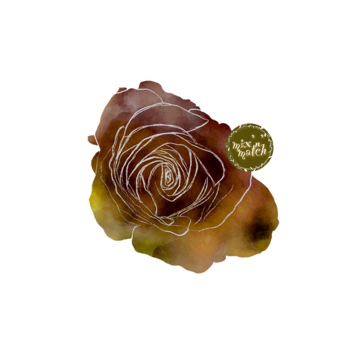 digital watercolour rose clipart harvest gold amber burnt orange