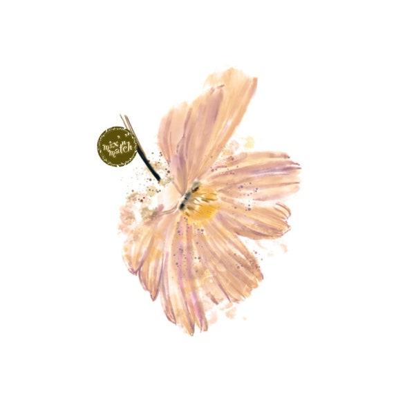 DIGITAL Watercolour Flowers Clipart Floral Clip Art Mauve Yellow Downloadable Printable PNG 300dpi DIY Craft Art Baby Girl Wedding
