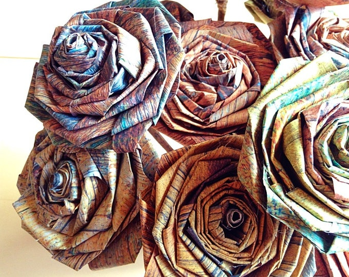 Featured listing image: Distressed Paper Rose Bouquet Gift For Her Him Vintage Rustic Shabby Chic Home Christmas Wedding Flower Paper Bouquets (Bunch of 5-6)