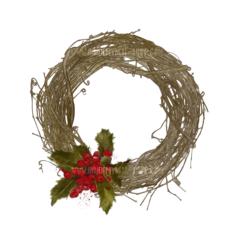 Christmas Wreath Clipart.Digital Handpainted Christmas Wreath Clipart Holly Leaves