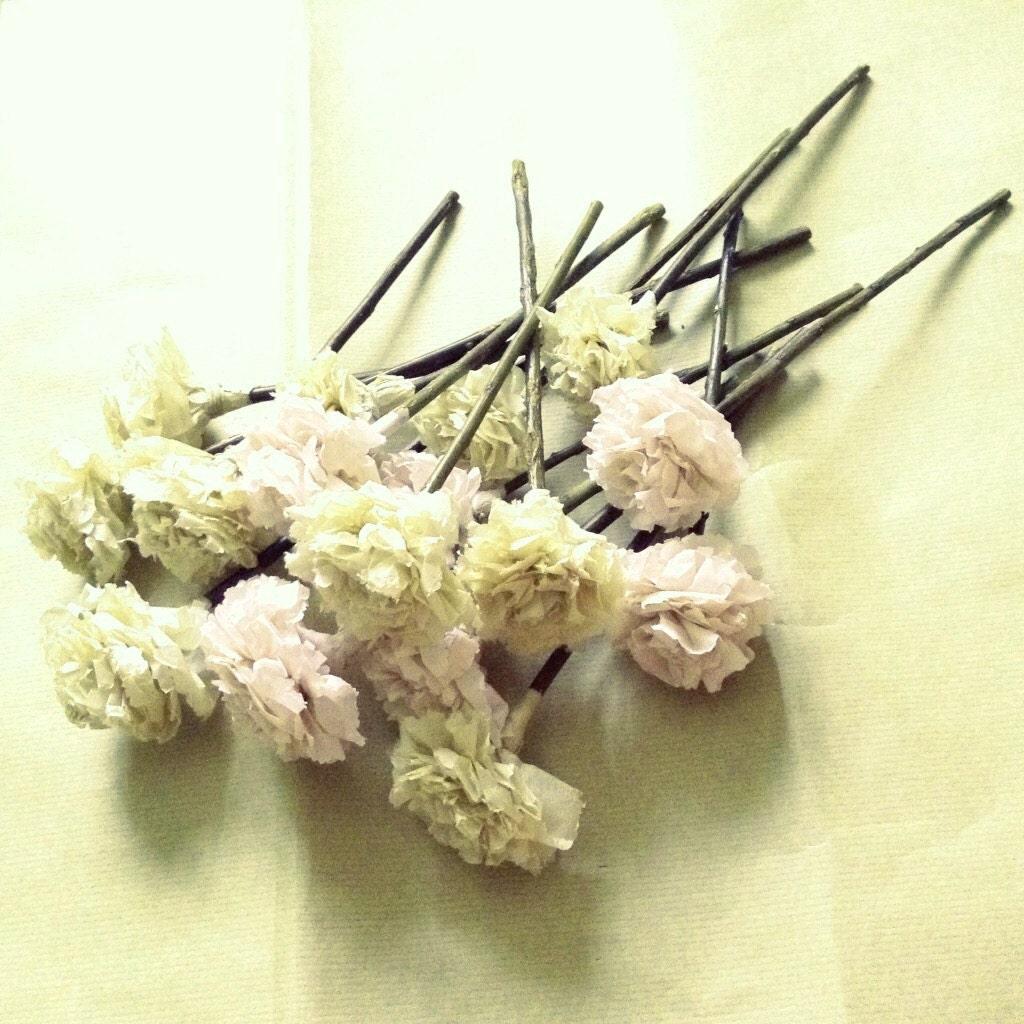 40992dfdf744 Blush Celery Green Tissue Paper Pom Pom Flower Wooden Sticks Wedding ...