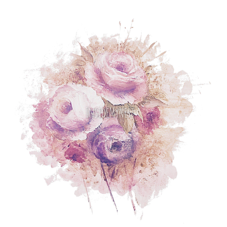 Old Vintage Dusty Pink Lilac Rose Bloom Splatter Watercolour