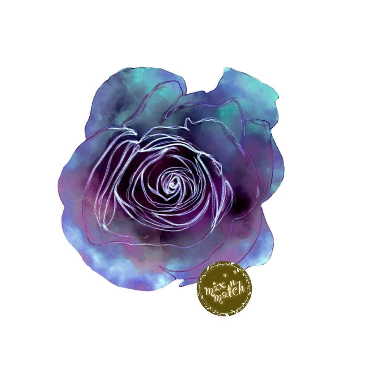 blue purple watercolour rose flower clipart floral multicoloured two