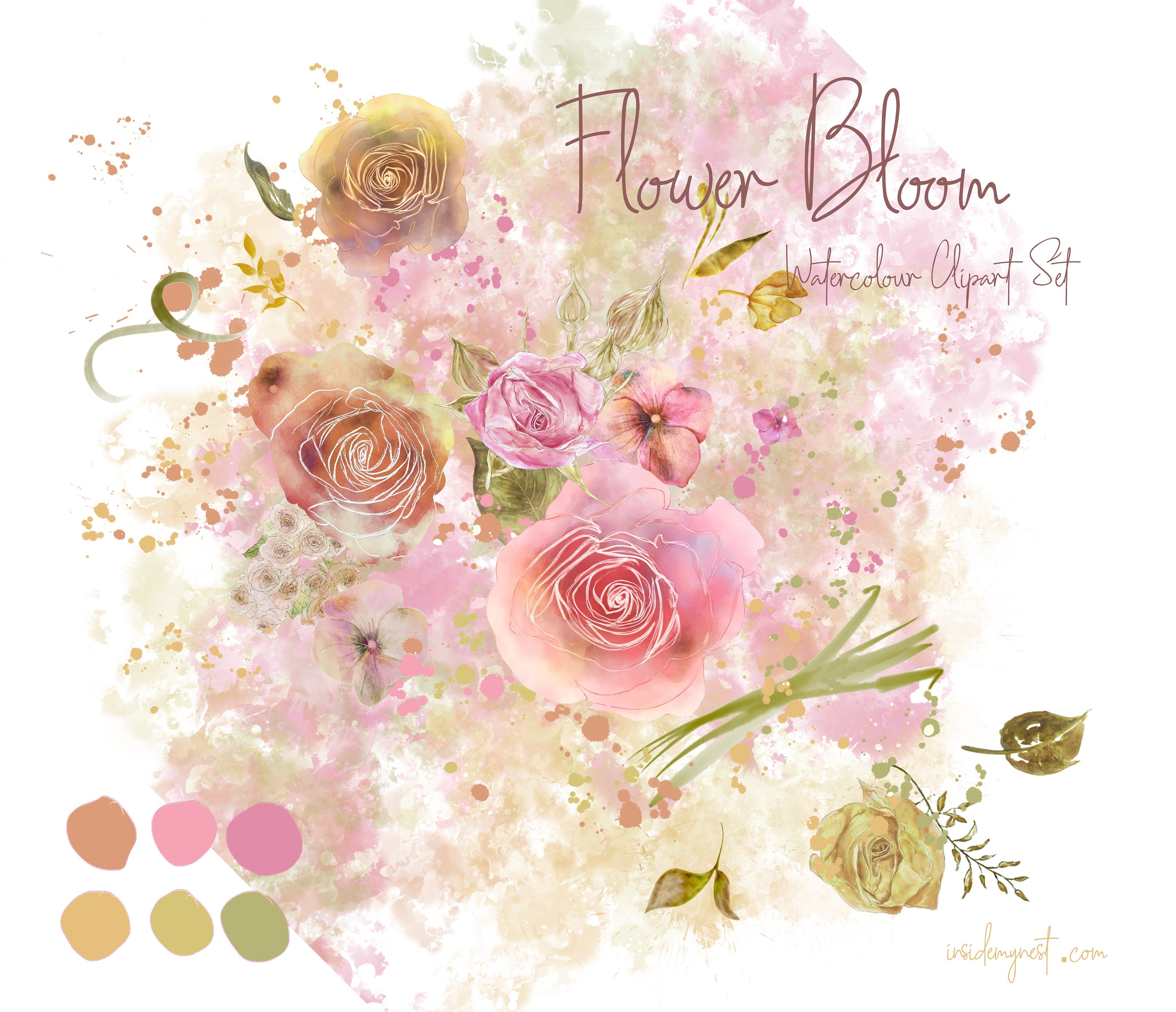 picture about Printable Clip Art known as Electronic Flower Bloom Watercolour Floral Clipart Flower Clip