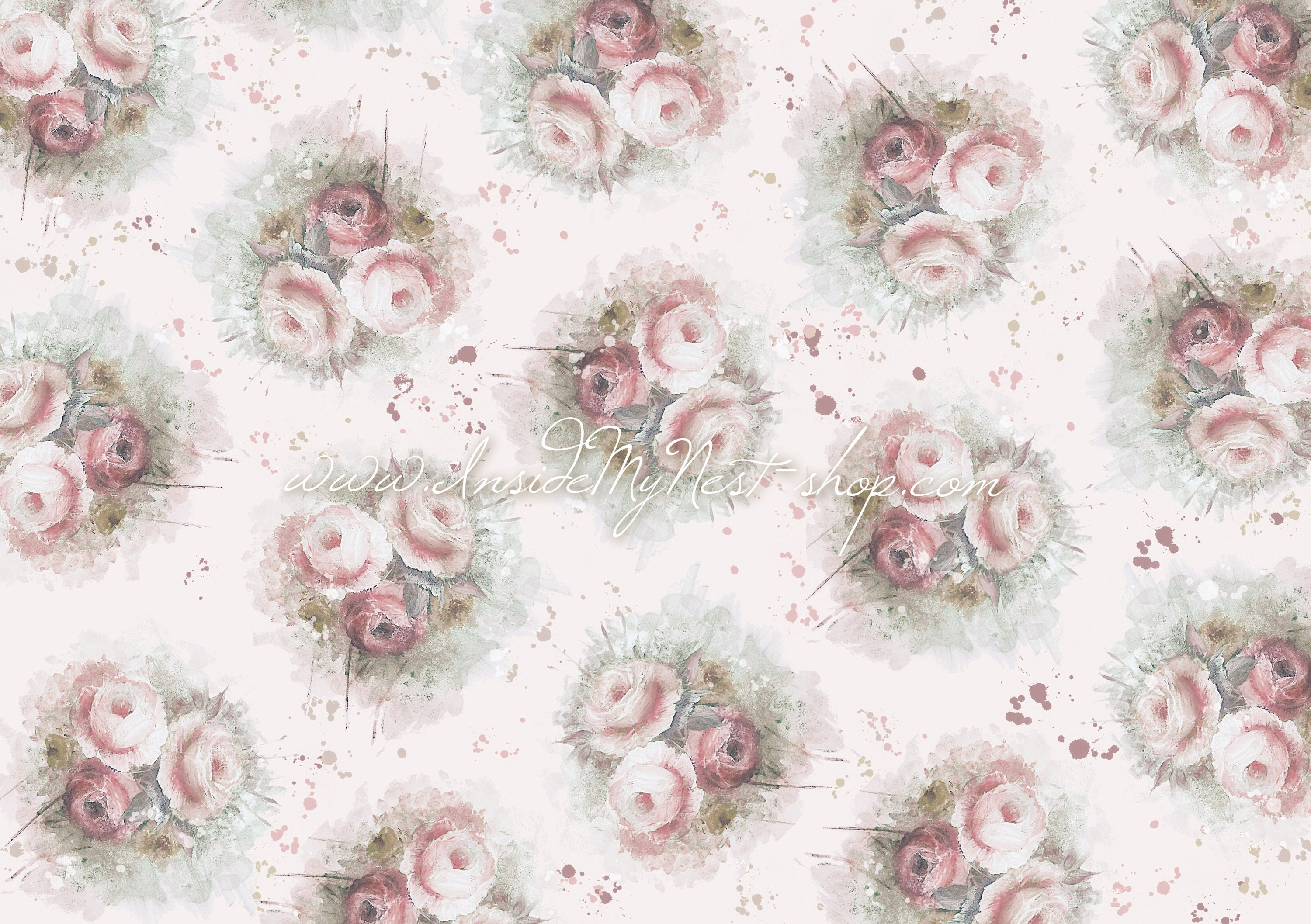 Digital Dusty Rose Blush Pink Vintage Shabby Cottage Chic Floral