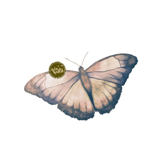 DIGITAL Vintage Watercolour Butterfly Clipart Instant Download PNG 300dpi Transparent Background DIY Invitation Card Jewellery Making