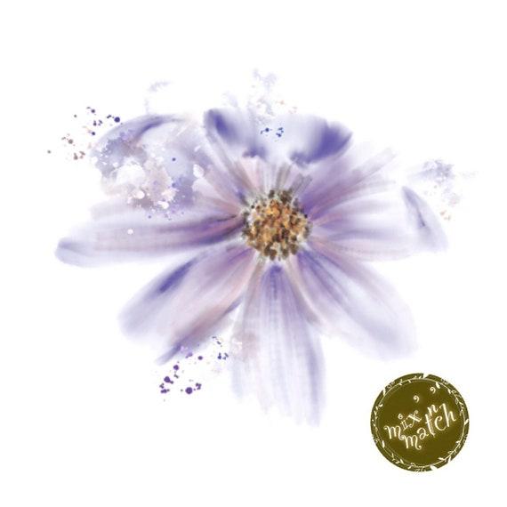 Watercolour Flowers Clipart Floral Clip Art Purple White Downloadable Printable Digital PNG 300dpi DIY Craft Art