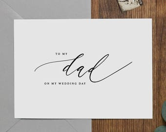 Wedding Card To My Dad On My Wedding Day, To My Father Wedding Card, Wedding Stationery, To My Dad, Thank You Wedding Card, Wedding Note, K6