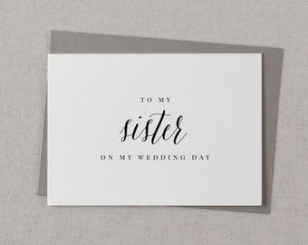 To My Sister On My Wedding Day Card - To My Sister Wedding Card, Wedding Stationery, To My Sister Thank You Wedding Card, Wedding Note, K7