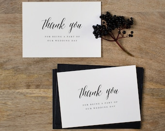 5 x Thank You For Being A Part Of Our Wedding Day - Wedding Thank You Card - Wedding Card, Wedding Thank You Cards, Wedding Thank You, K7