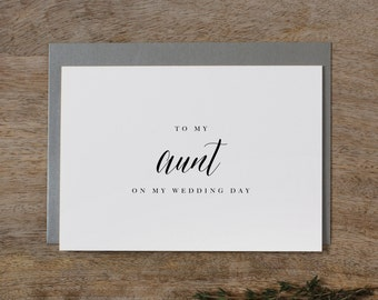 To My Aunt Wedding Day Wedding Card - To My Aunt Wedding Card, Wedding Stationery, To My Aunt Card, Thank You Wedding Card, Wedding Note, K7