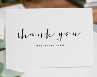 5 x Thank you from the Newlyweds - Wedding Thank You Card - Newlyweds Wedding Card, Wedding Thank You Cards, Wedding Guest Thank You, K4