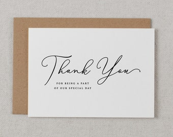 5 x Thank you for being a part of our Special Day - Wedding Thank You Card - Wedding Card, Wedding Thank You Cards, Wedding Thank You, K11