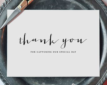 Thank you for Capturing our Wedding - Card for Wedding Photographer - Wedding Card, Wedding Thank You Cards, Wedding Photographer Card, K4