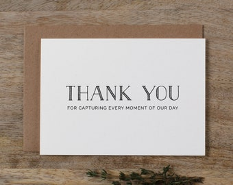 Thank you for Capturing our Wedding - Card for Wedding Photographer - Wedding Card, Wedding Thank You Cards, Wedding Photographer Card, K5