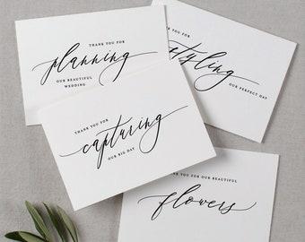 Wedding Vendor Thank You Cards - Card for Wedding Photographer, Wedding Planner Card, Card For Florist, Band, Officiant, Hair Stylist - K6