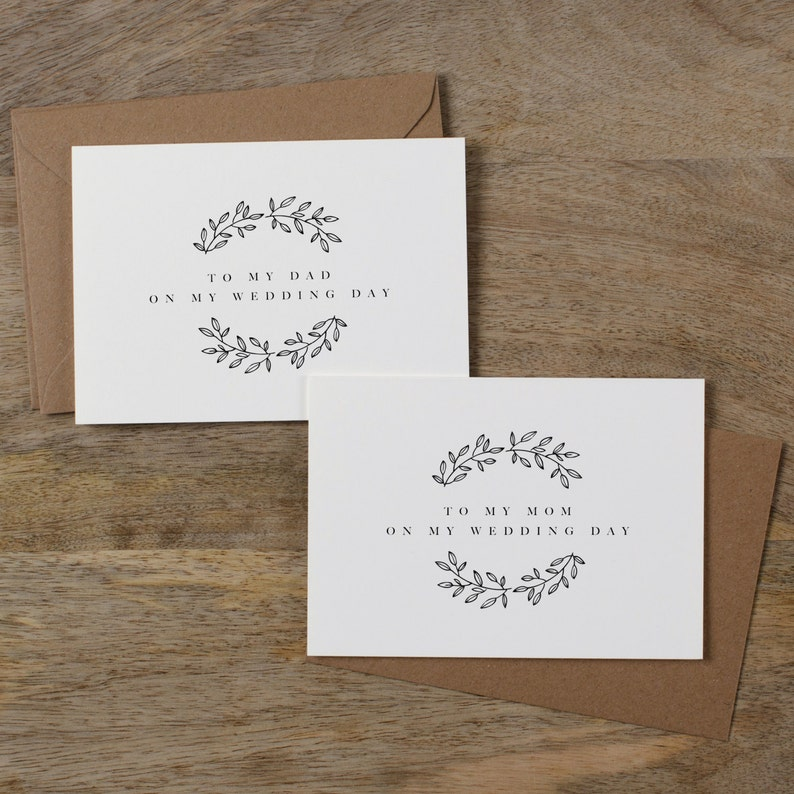 To my parents on my wedding day Wedding day cards Choose your envelope color Wedding card for parents