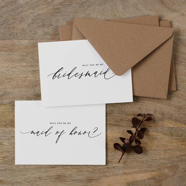 4 x Will You be My Bridesmaid Card Bridesmaid Proposal Maid image 0