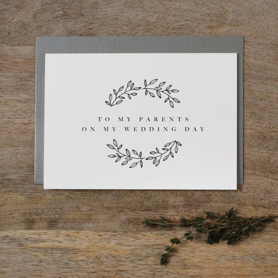 To My Parents On My Wedding Day Thank You Wedding Card To My Etsy