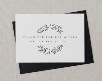 5 x Thank you for being a part of our Special Day - Wedding Card, Wedding Thank You Card, Wedding Thank You Cards, Wedding Thank You, K9