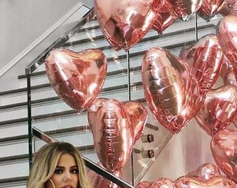 Rose Gold Mylar Heart Balloon - Rose Gold Balloons, Pink Party Balloons, Rose Gold Heart, Valentine's Day Decor, Rose Gold Balloon Garland