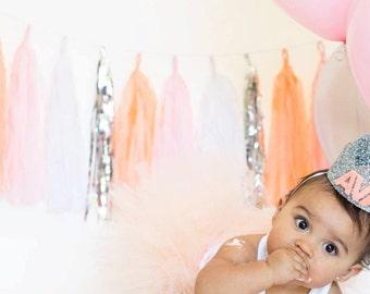 Peach and Silver Tassel Garland Banner - Peach and Blush Party Decor, Peach Bridal Shower Decor, Peach Baby Shower, Peach Party Decoration