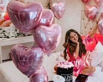 Blush Pink Heart Balloon - Pink Mylar Heart Balloon Bouquet, Pink Balloon Garland, Anniversary Balloons, Valentines Day Decor Balloon