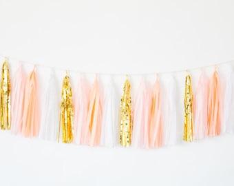 Peach, Blush and Gold Tassel Garland Banner - Peach Party Decor, Peach Baby Shower Decor, Peach Birthday Party, Peach Nursery Decor