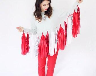 Red, White and Silver Tassel Garland - Valentines Day Decor, Red Party Decoration, Red Tassel Garland, Red Nursery Decor