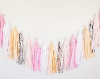 Peach and Pink Tassel Garland - Peach Party Decor, Peach Birthday Party, Pink Nursery Decor, Pink and Peach Bridal Shower Bachelorette