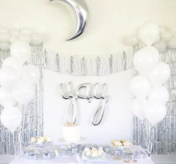 Silver And White Tassel Garland Banner Silver And White Decor